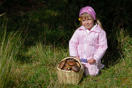 fungoid: little girl with basket of mushrooms