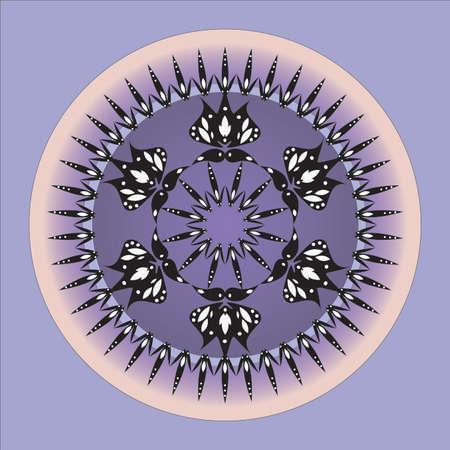 zen like: Mandala like purple and black flower design.