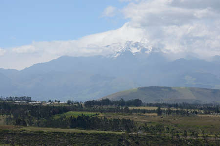quechua indian: Latin American picturesque mountain view on volcano.