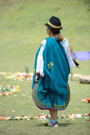 traditional costume: An Indian woman from Andes in traditional costume.