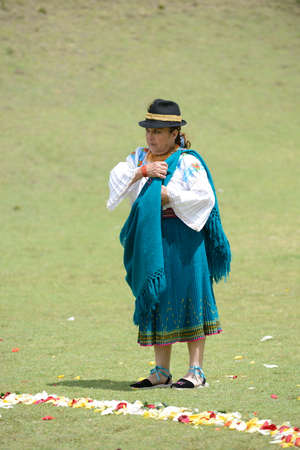 quechua indian: An Indian woman from Andes in traditional costume.