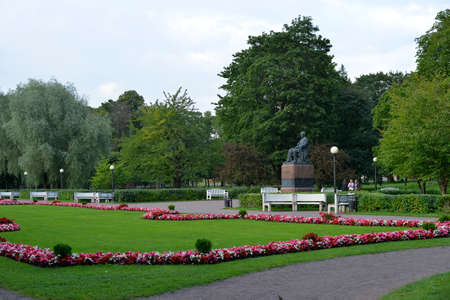 peter the great: August, 2015  - Tallinn, Estonia. Kadriorg  park in Tallinn is the Catherines Valley commissioned by the Russian Czar Peter the Great.