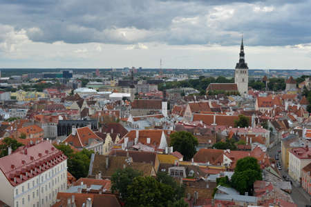 tallin: August, 2015 - Old city of Tallinn, Estonia. Old stoned streets, houses and red roofs of old Tallinn in the summer day. View from the Editorial