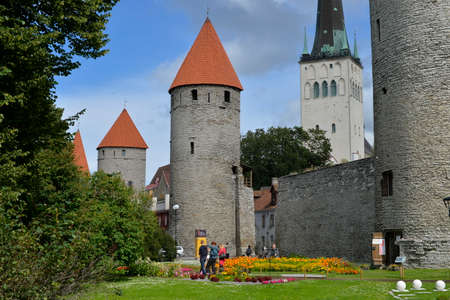 August, 2015  -  Old city of Tallinn, Estonia. Under the wall of old Talllinn -  the medieval defensive construction around the city. Redakční