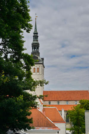 roof light: Old stoned streets, houses and red roofs of old Tallinn in the summer day.
