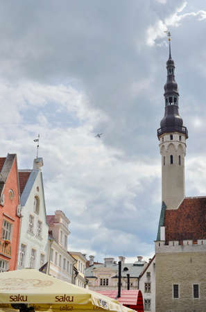 August, 2015  -  Old city of Tallinn, Estonia. Old stoned streets, houses and red roofs of old Tallinn in the summer day. Redakční