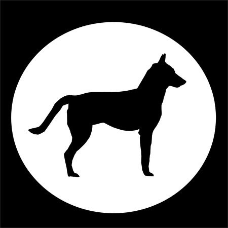 Black Dog with Tail in White circle photo