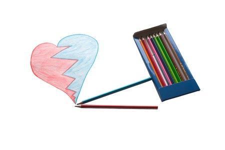 Painted heart with pack of pencils photo