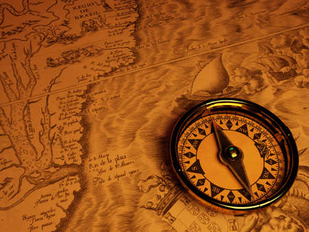 compas: Compass and piece antique map and