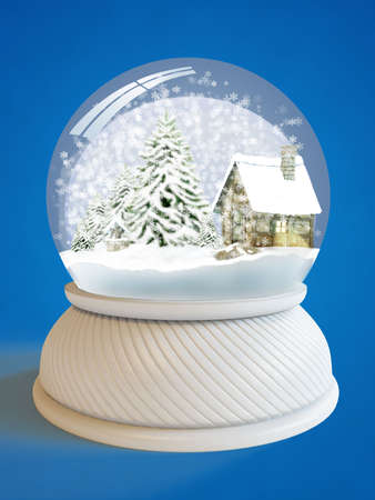 Snow globe with village house and firtree  Stock Photo