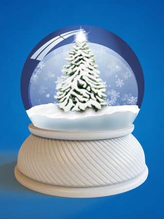 Snow globe with village house and firtree  photo