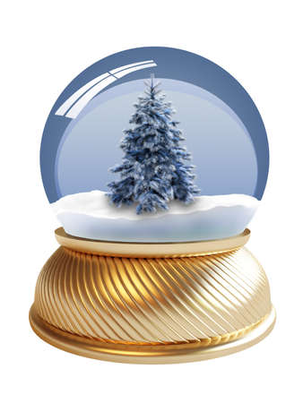 3D render of snow globe with firtree  Stock Photo - 3993126