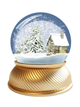 3D render of snow globe with village house and firtree