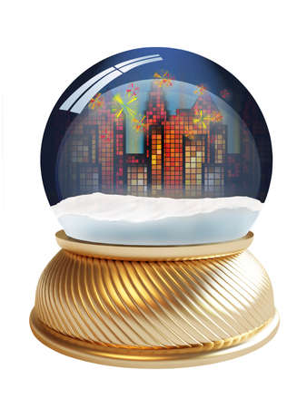 3D render of snow globe with city lights inside Stock Photo - 3993125