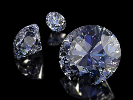scintillation: Some perfect diamonds isolated on black background. Path. Stock Photo