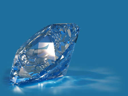 Blue diamond with caustic isolated on blue background.
