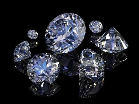 scintillate: Algunos diamantes perfectos aisladas sobre fondo negro. Foto de archivo