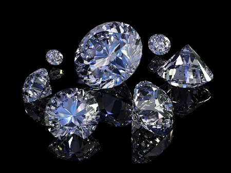 Some perfect diamonds isolated on black background.