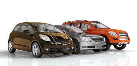 3D cars isolated on white background. Exellent material for web banners photo