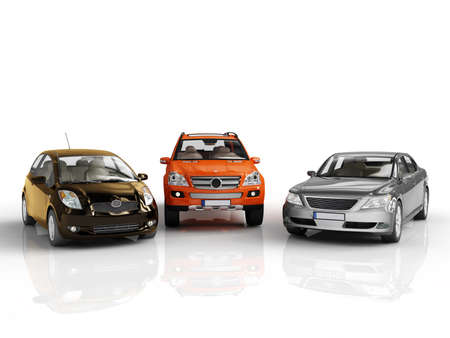 three 3d cars rendered on white background photo