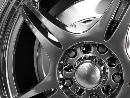 wheel with steel rims, reflections