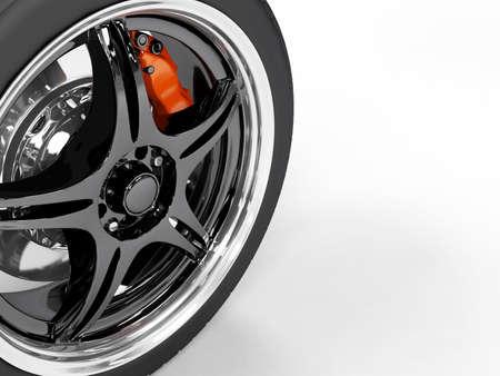 Racing steel wheel on white background Stock Photo