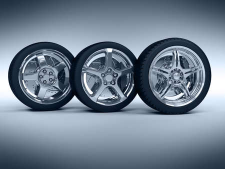 Car wheels with steel rims over the blue background Stock Photo - 4544222