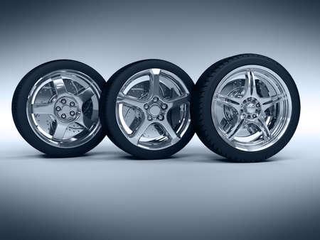 huellas de neumaticos: Ruedas de coches con llantas de acero sobre el fondo azul