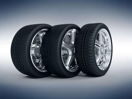 aluminum wheels: Ruedas de coches con llantas de acero sobre el fondo azul
