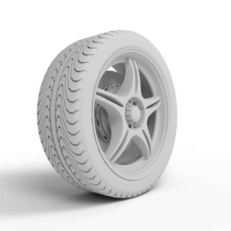 Racing car wheel without texture on white background Stock Photo - 4544196