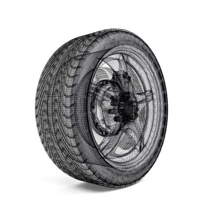 Drawing car wheel on white background Stock Photo