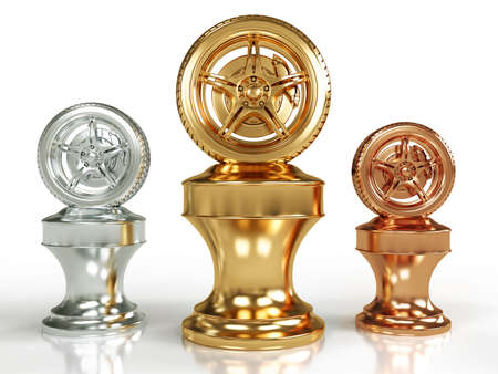 Gold, silver and bronze wheel awards isolated on white background photo