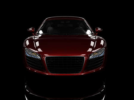 Red modern car isolated on black background. isolated on black background. Exellent material for web banners