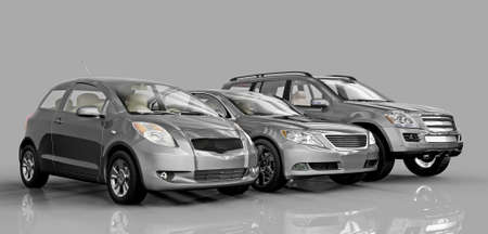 3D cars isolated on white background. Exellent material for web banners