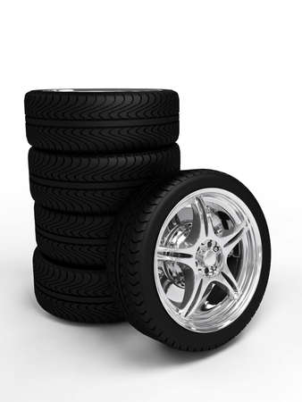 Car wheelsheels with steel rims over the white background