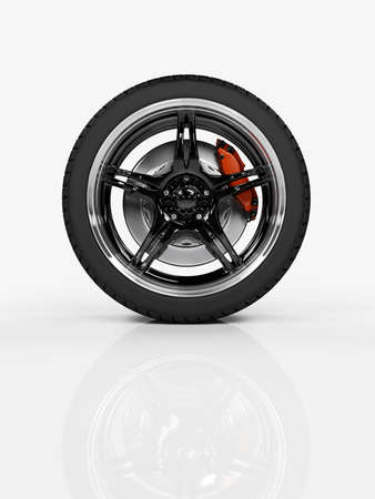 Racing carbon wheel on white background