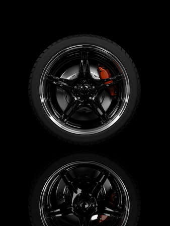 Racing carbon wheel on black background Stock Photo - 4544204