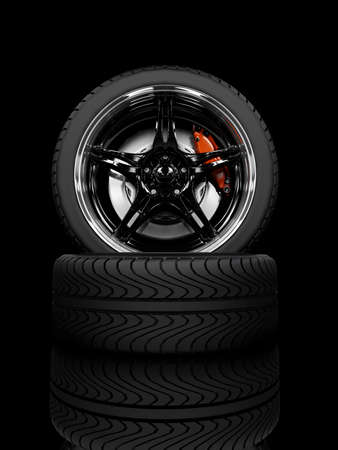Racing carbon wheel on black background Stock Photo