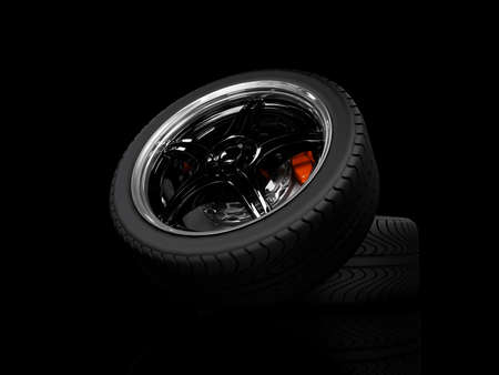 wheels with steel rims over the black background