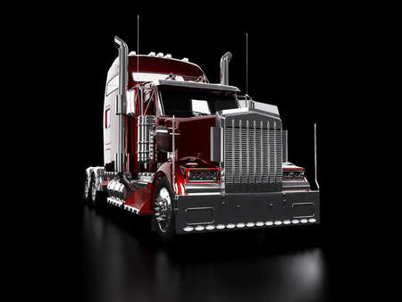 Red heavy truck isolated on black background Stock Photo