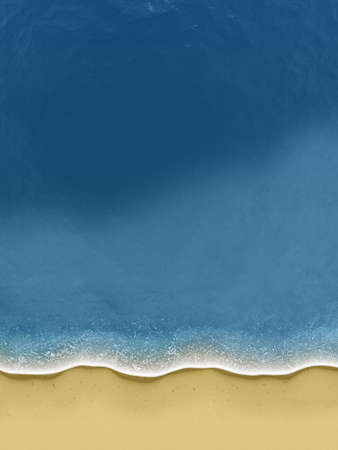 topdown: Illustration of birds-view of waves rolling over the beach Stock Photo