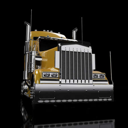 hauling tractor: Yellow heavy truck isolated on black background Stock Photo