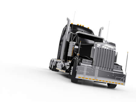 Black heavy truck isolated on white background Stock Photo