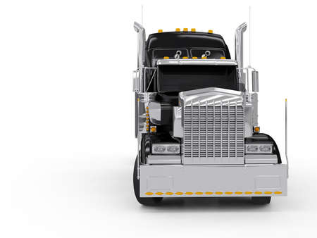 semi truck: Black heavy truck isolated on white background Stock Photo