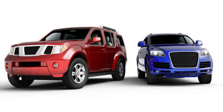 car showroom: Two cars presentation. Isolated on white background. Stock Photo