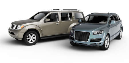Twee auto's presentatie. Isolated on white background. Stockfoto