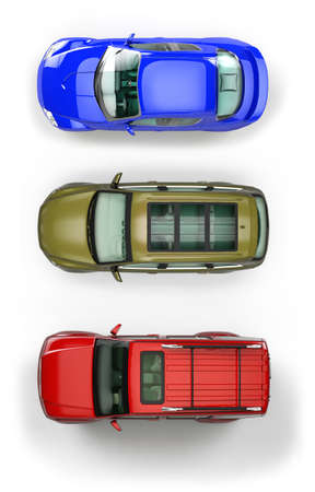 roof top: Three top view automobiles isolated on white background Stock Photo