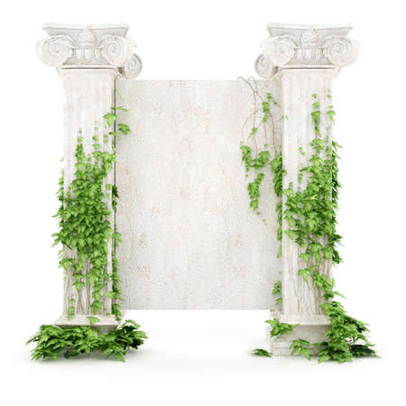 stylized antiquity billboard covered with ivy isolated on white background