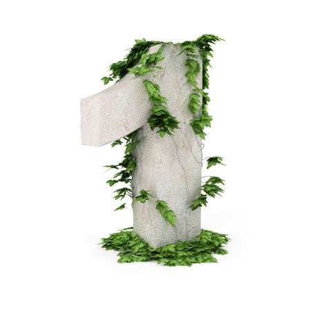 concretion: Digit one threads covered with ivy isolated on white background. Stock Photo