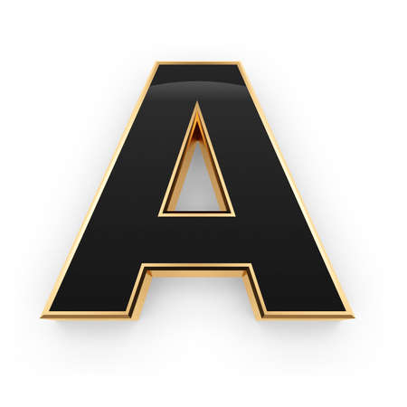 Golden whith black letter A isolated on white background Stock Photo - 8599990